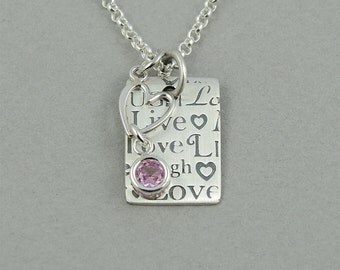 Birthstone Necklace - Sterling Silver Live Laugh Love Charm Jewelry, Silver Heart Necklace, Birthday Gift