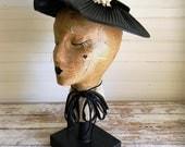 Vintage Hat, 1950s BlackFormal Hat, Wide Brim Hat, Accordion Brim Hat with Velvet Ribbon and Pink Millinery Flower Spray, 1950s Easter Hat