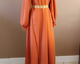 Pumpkin Long and Full Chemise  Renaissance Costume Dress Chemise Medieval Peasant Shirt