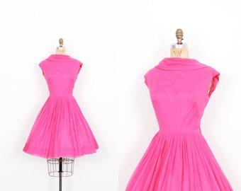 Vintage 1960s Dress / 60s Lilli Diamond Chiffon Party Dress / Hot Pink ( small S )