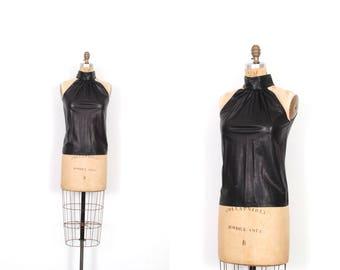 Vintage 1980s Top / 80s Black Leather Halter Top / Backless ( XS S )
