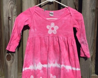 Pink Girls Dress, Long Sleeve Dress, Girls Pink Dress, Girls Easter Dress, Flower Girls Dress, Tie Dye Dress, Girls Flower Dress (4T)