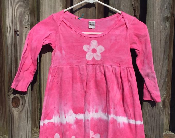 Pink Girls Dress, Long Sleeve Dress, Girls Pink Dress, Girls Easter Dress, Flower Girls Dress, Tie Dye Dress, Girls Flower Dress (4T)
