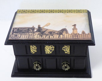 Gothic Jewelry Box - Funeral Carriage and Spiderwebs - Upcycled Jewelry Box - Gothic Trinket Box - Stash Box
