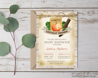 Pumpkin Baby Shower Invitation, Rustic Baby Shower Invitation, Fall Baby Shower Invitation, Farm Garden Baby Shower