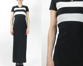 90s Sporty Black Maxi Dress Black and White Striped Dress Stretchy Black Spandex Body Con Health Goth Racing Stripes Long Dress (XS/S) E3084