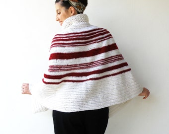 Vintage Crochet Wool Cape / White and Red Cape