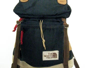 70s huge THE NORTH FACE Hiking Backpack with Internal Frame Brown Label,  tan and blue, canvas, nylon and leather bottom