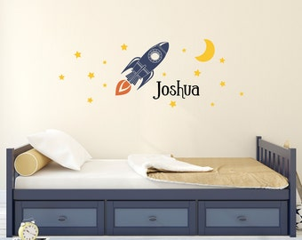 Rocket Decal Set - Boys Name with Moon and Stars Wall Stickers - Personalized Boy Wall Art - Bedroom Decor