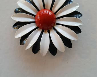 Red, White and Blue Flower Power Enamel Vintage Pin/ Brooch