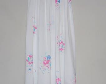 Clearance Sale 30% Off - Vintage White Skirt with Pink and Blue Flower Detail by Dorothy Perkins, UK Size 6, Waist 24 Inch, 1980s, US Size 4