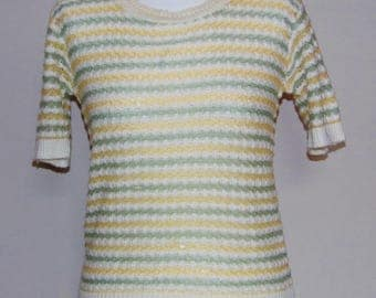 Summer Sale 50% OFF - Vintage Short Sleeve Knitted Top with Cream, Lemon Yellow and Olive Green Stripe Pattern, Bust 36, UK Size 12,