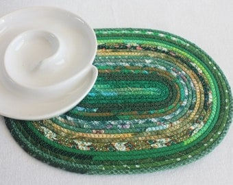 Coiled Fabric Rope Mat / Oval Coiled Mat / Placemat / Hot Pad / Trivet / Eco Green by PrairieThreads