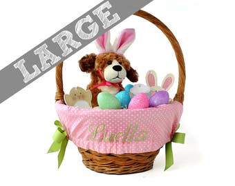 Large Personalized Easter Basket Liner for oversized baskets - Pink Tiny Dots - Basket not included - Jumbo Size - Ships in time for Easter