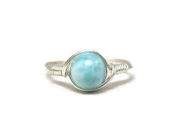 Larimar Argentium Sterling Silver Wire Wrapped Ring Custom Sized