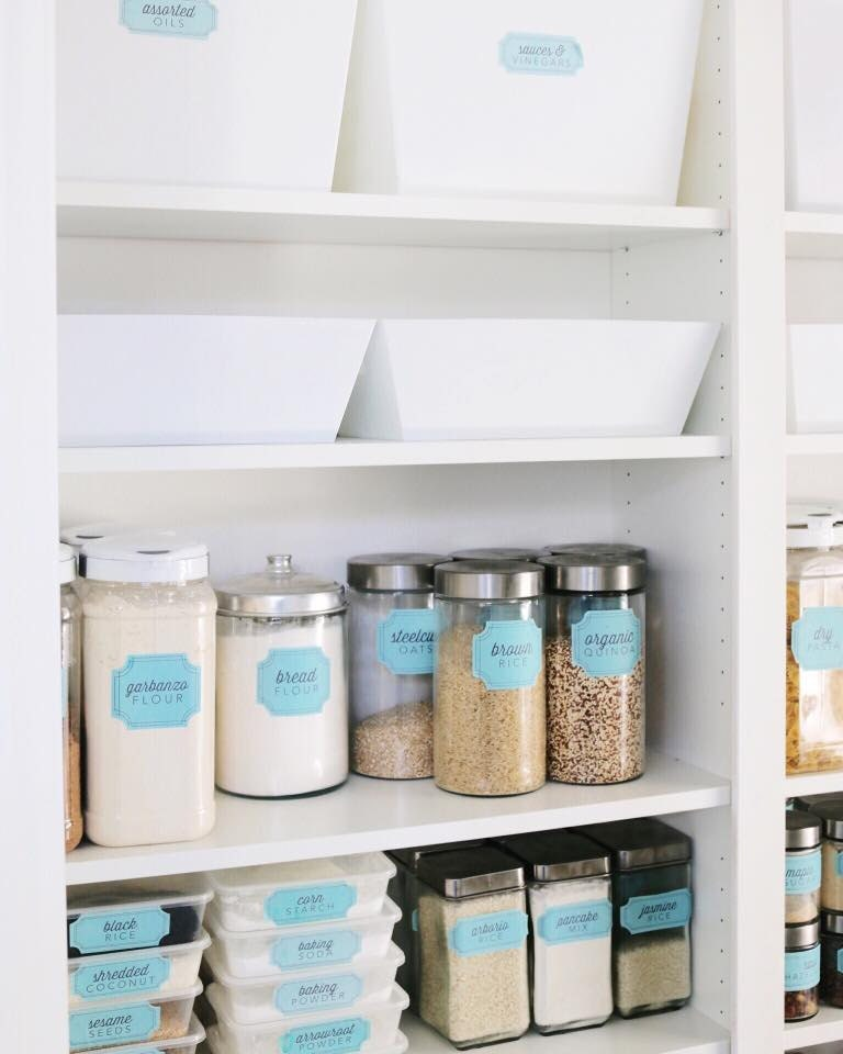 Retro Blue Bins And Containers Pantry Labels