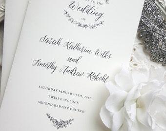 Folded Wedding Programs - Style P101 - GARDEN COLLECTION | wedding programs  |  ceremony program  |  programs - PRINTED