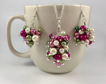 Pearl Cluster Necklace/Earrings/Set - Shades of Green, Pink, and Cream - Custom Pearl Colors Option - Choose your own colors