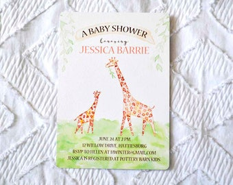 Printable Custom Giraffe Baby Shower Invitation
