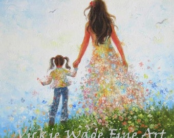 Mother and Daughter ORIGINAL Painting 12X24, mother's day gift, mom and daughter, walking together, hand in hand, painting, Vickie Wade art