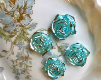 Cottage Chic Roses,Shabby Blue Cabochons,Vintage Flowers cabochons,Gold Leaf Gild,Gilded,Roses, flower cabochons, Rose cabochons, #1721E