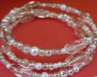 Handmade Bracelet Wired Clear Glass Pearl Beads Fashion Napkin Holder Party Favor