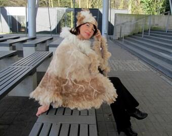 Alpaca Felted Poncho Alpaca Women wrap Natural cream brown shawl natural fur wrap felted poncho alpaca wool shawl Galafilc