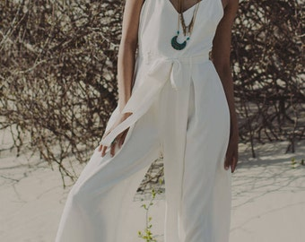 "Bridal Jumpsuit in Matte Crepe with a Cami top, Sash, and Flowing Wide leg Pants, the ""Lucas"" Jumpsuit CUT TO ORDER"