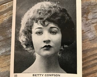 RARE 1920s Hollywood Starlet Betty Compson Paramount Pictures Vintage Cigarette Advertising Trading Card Egyptian Prettiest Cupid's Bow Lips