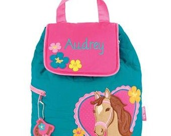 Personalized Stephen Joseph HORSE Preschool Backpack Kids Embroidered School Bag Childs Monogrammed Tote with Easy Ordering