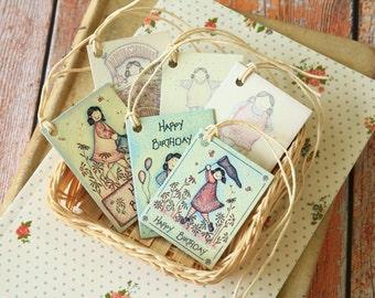 shabby chic Birthday printed gift tags