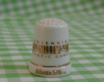 Vintage 1996 Centennial Olympic Games Thimble, Atlanta Olympics Souvenir, White and Gold