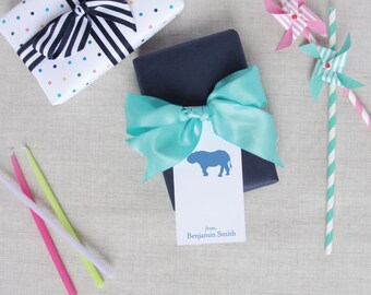Safari Animal Silhouette Personalize Childrens Gift Tags | Custom Hang Tags | Gift Wrap | Party Supplies | Elephant Zebra Lion Rhinoceros