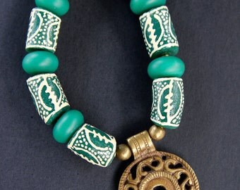 Large Green and White African Krobo Bead Necklace Gye Adrinka Symbol Beads w Cast Brass Disc Pendant Ethnic African Tribal Jewelry