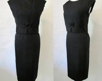 "Classic 1960's  Designer ""Little Black Dress"" Audrey Hepburn Style Vintage Chic Cocktail Dress by Stephen O'Grady VLV Rockabilly Size Medium"