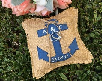 Anchor Ring Bearer Pillow Nautical Beach Burlap Navy Blue Personalized Ringbearer Pillow Beach Wedding Ring Pillow Nautical Wedding