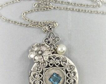 Waters Bloom,Aquamarine Necklace,Aquamarine Locket,Birthstone Necklace,Aquamarine Birthstone,Antique Locket,Blue Lcoket,Blue Necklace