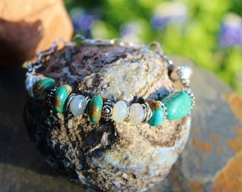 Handmade Large Turquoise & Chalcedony Layering Bracelet, OOAK Boho Chic Bracelet, Wearable Art, Handcrafted Artisan Sterling Silver Bracelet