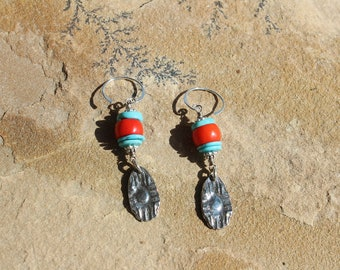 Southwest Zia with Turquoise & Coral Earrings, Inviciti Charm Earrings, Handmade Wearable Art, Handcrafted Artisan Sterling Silver Earrings