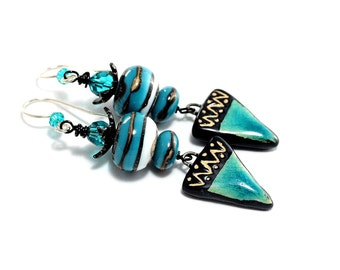 Lampwork Bead Earrings. Turquoise Rustic Tribal Earrings. Long Dangle Earrings. Boho Chic Earrings. Artisan Clay Charms. Glass Bead Jewelry.