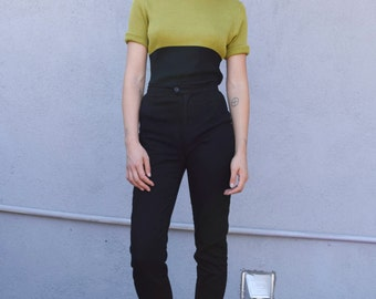 Vintage Ribbed Turtleneck 1990's Olive Green Black Color Block Knit Fitted Short Sleeve Sweater Top S/M