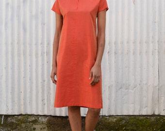 Vintage Raw Silk 1990's MaxMara Nehru Collar Minimalist Iridescent Coral Orange Mini Tunic Dress S/M