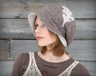 Brown Oak Leaf Slouchy Beanie Hat, Organic Cotton and Recycled T-shirt Hat