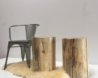Tree Stump Side Table Nude Trunk Stool Seat
