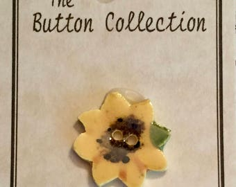 Ceramic Sunflower Button, Hand Painted, Mill Hill Button Collection, 2 Hole, Sewing, Crafting, Cross Stitch, Embellishment