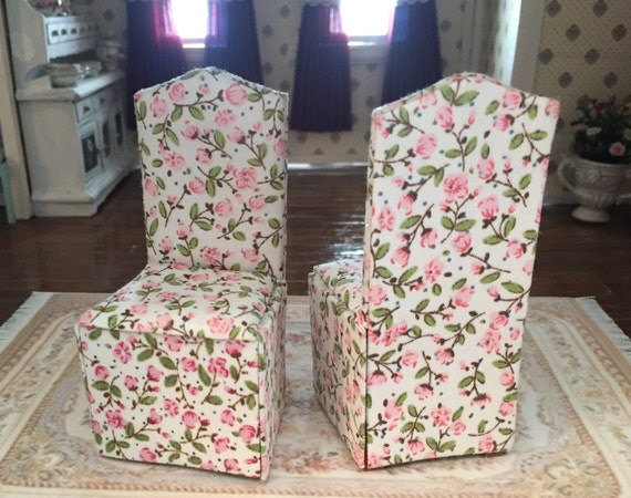 Miniature Chair, Fabric Covered Rose Print Dining Room Chair, Dollhouse Miniature, Dollhouse Furniture, 1:12 Scale, White, Pink, Chair
