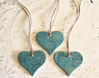 Antique Ceiling Tin Inspired Polymer Clay Hanging Heart Ornaments, Vintage Style Country Cottage Home Decor Gift, Turquoise Peridot Finish