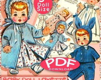 TINY 4-5 inch Baby Doll 12 pc Layette Doll Clothes Vintage e-Pattern