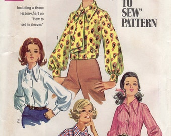1960s Button Down Blouse with Pointed Collar & Ascot - Vintage Pattern Simplicity 8299 - Bust 36 UNCUT FF