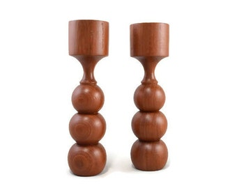 Vintage Teak Wood Candle Holders Candlesticks
